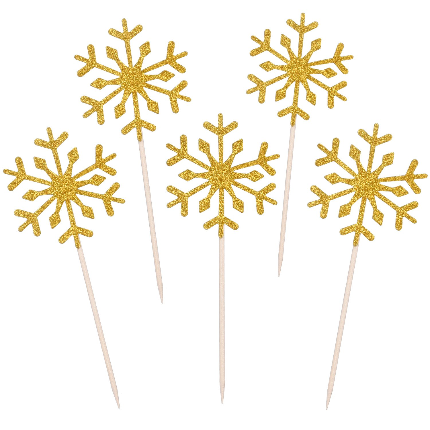 Mtlee 60 Pack Snowflake Cupcake Toppers Glitter Snowflake Cake Topper Picks for Christmas Birthday Party Baby Shower Wedding Cake Decoration (Silver)