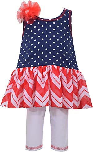 Bonnie Jean Baby Girls 4th July Americana Chevron Tunic Pants Set