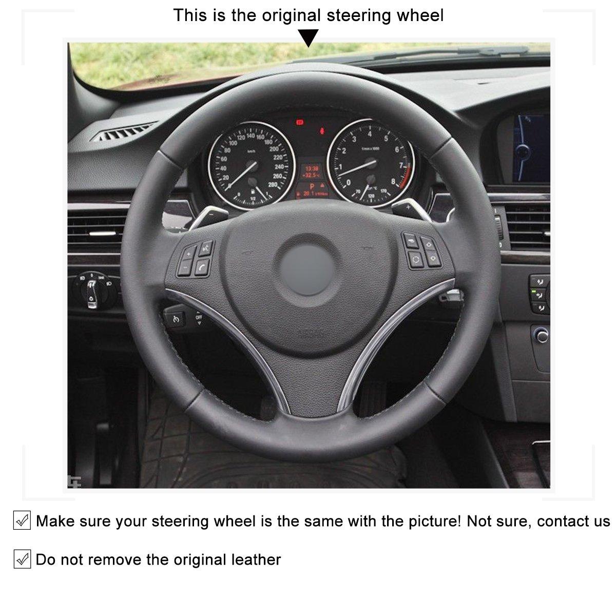 MEWANT Customized Hand-Stitched DIY Black Genuine Leather Car Steering Wheel Covers for BMW E90 325i 330i 335i E87 120i 130i 120d