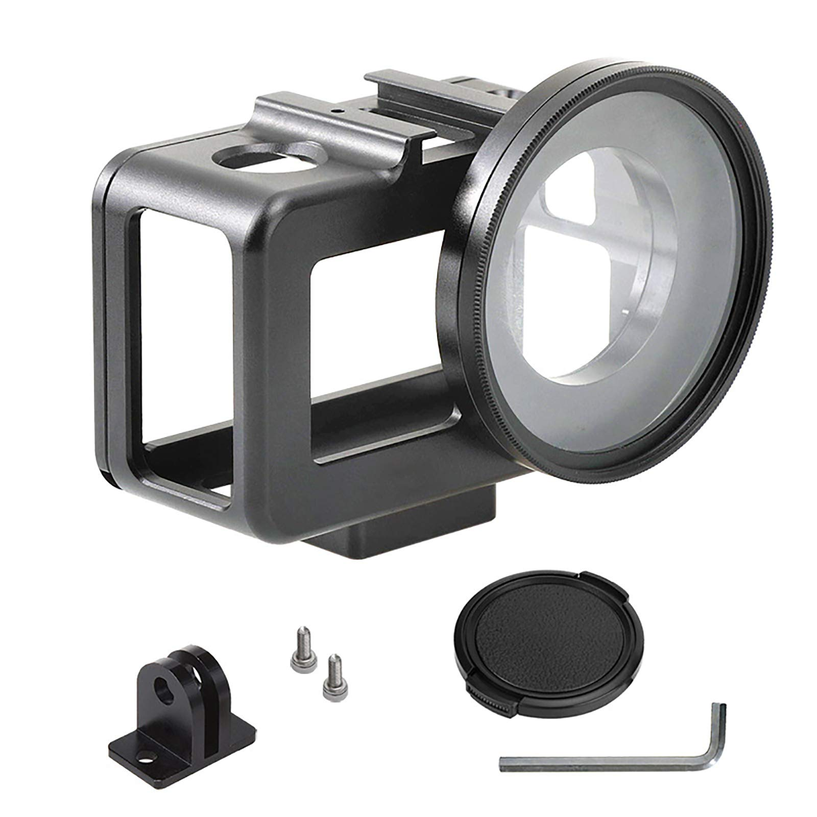SHEAWA Protection Frame Cage Case with 52mm UV Lens and Hot Shoe for DJI Osmo Action Camera