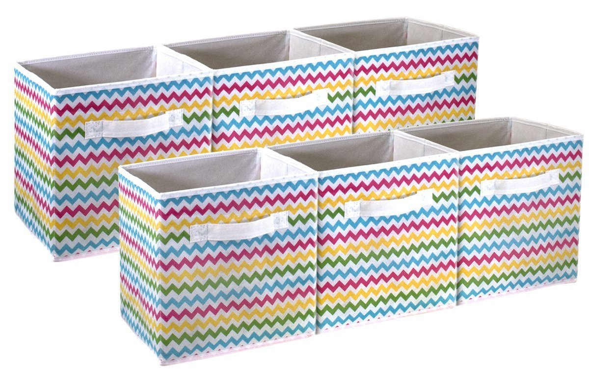 Sorbus Foldable Storage Cube Basket Bin - Great for Nursery, Playroom, Closet, Home Organization (Chevron Multi-Color, 6 Pack) STRG-BIN-CHV-6PKA