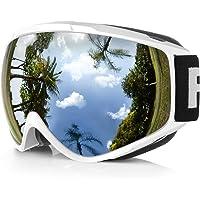 Maschera da Sci,Findway Occhiali da Sci per Uomo Donna Teenager OTG Maschere Sci Compatibile con Casco,Anti Nebbia 100% Anti-UV Maschera Sci ,Adatto a Snowboard ,Motocross e Altri Sport Invernali
