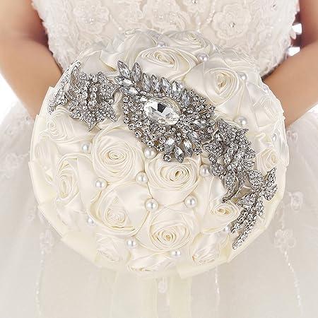 Bouquet Sposa Con Perle.Bouquet Da Sposa Con Fiori In Raso Strass E Spilla Con Perle Mit