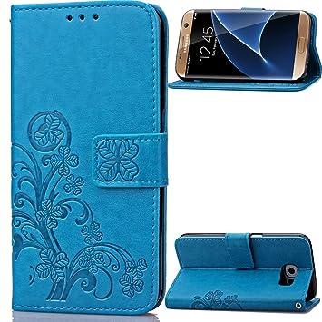 Carcasa para Funda Samsung Galaxy S7 Edge Carcasa, Cartera Flip Funda Caja de Cuero de la PU Carcasa con Tapa Flip Case TPU Funda (Blue). RF07