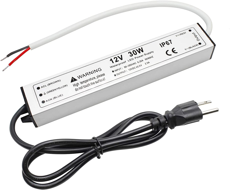 30W12 볼트 LED 전력 공급을 방수 IP67LED 드라이버 110V AC12V DC 컨버터 LED 변압기 저 전압 출력으로 3 단자 플러그 3.3 발 케이블을 위한 LED 가벼운 스트립 2.5A