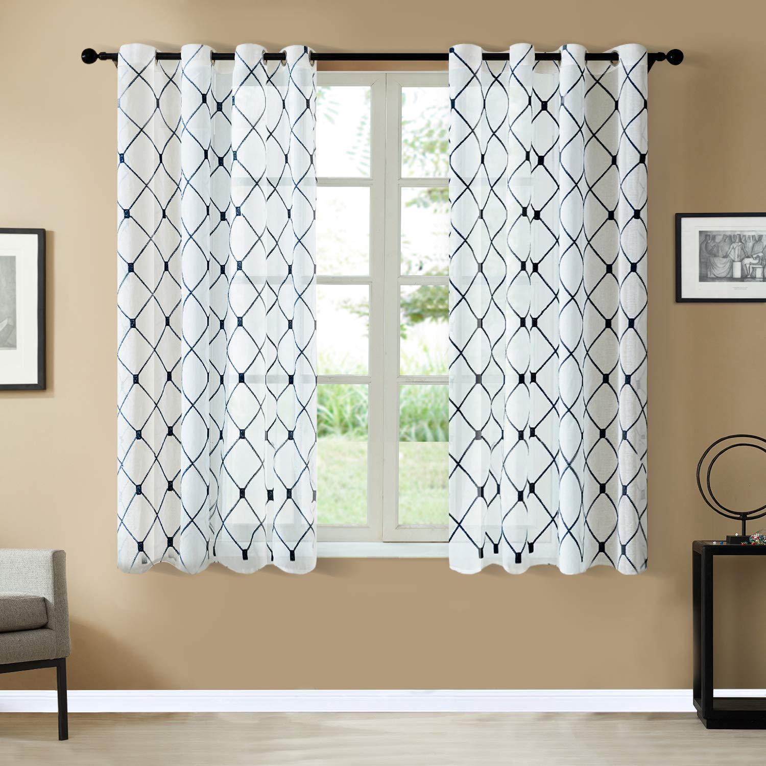 2 Panels Top Finel Grey Sheer Curtains 63 Inch Length for Living Room Bedroom Diamond Embroidered Grommet Window Curtains