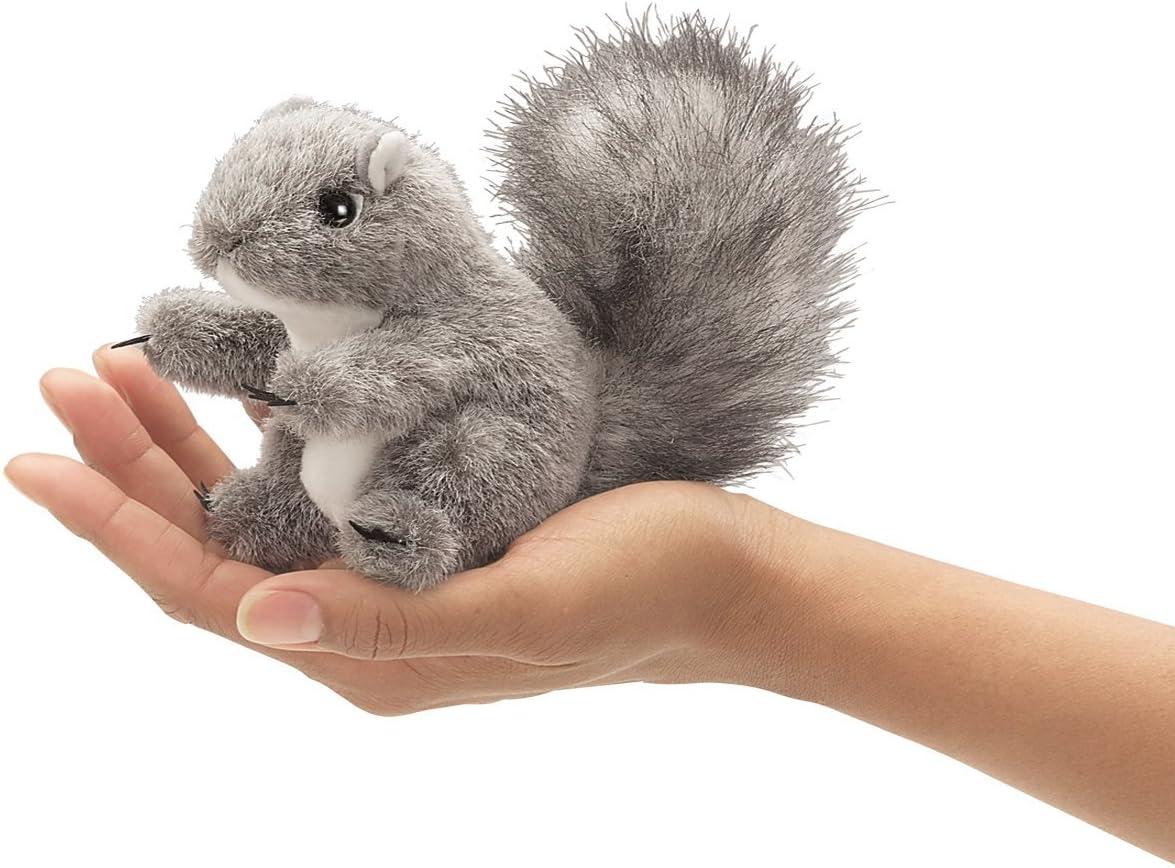 Folkmanis Mini Gray Squirrel and Mini Fox Finger Puppet Bundle Set of 2