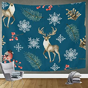 DOMIKING Tapestry Bedroom Decor Wall Hanging - Christmas Deer and Bullfinches Bedding Tapestry for Bedroom Living Room Dorm 90x60in Wall Art