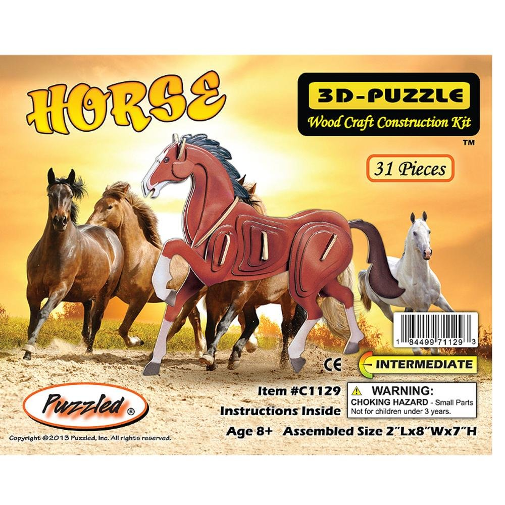 グランドセール Puzzled Puzzled 3D Horse Pre-Colored Wooden 3D Puzzle Construction Construction Kit by Puzzled B002UMKD7Q, きもの和泉:34a1d186 --- quiltersinfo.yarnslave.com