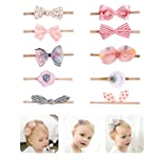 Fancy Clouds Baby Girl Headbands,10 Pack Hair Accessories Bow Flower for Newborn Infant Toddler (pink bow)