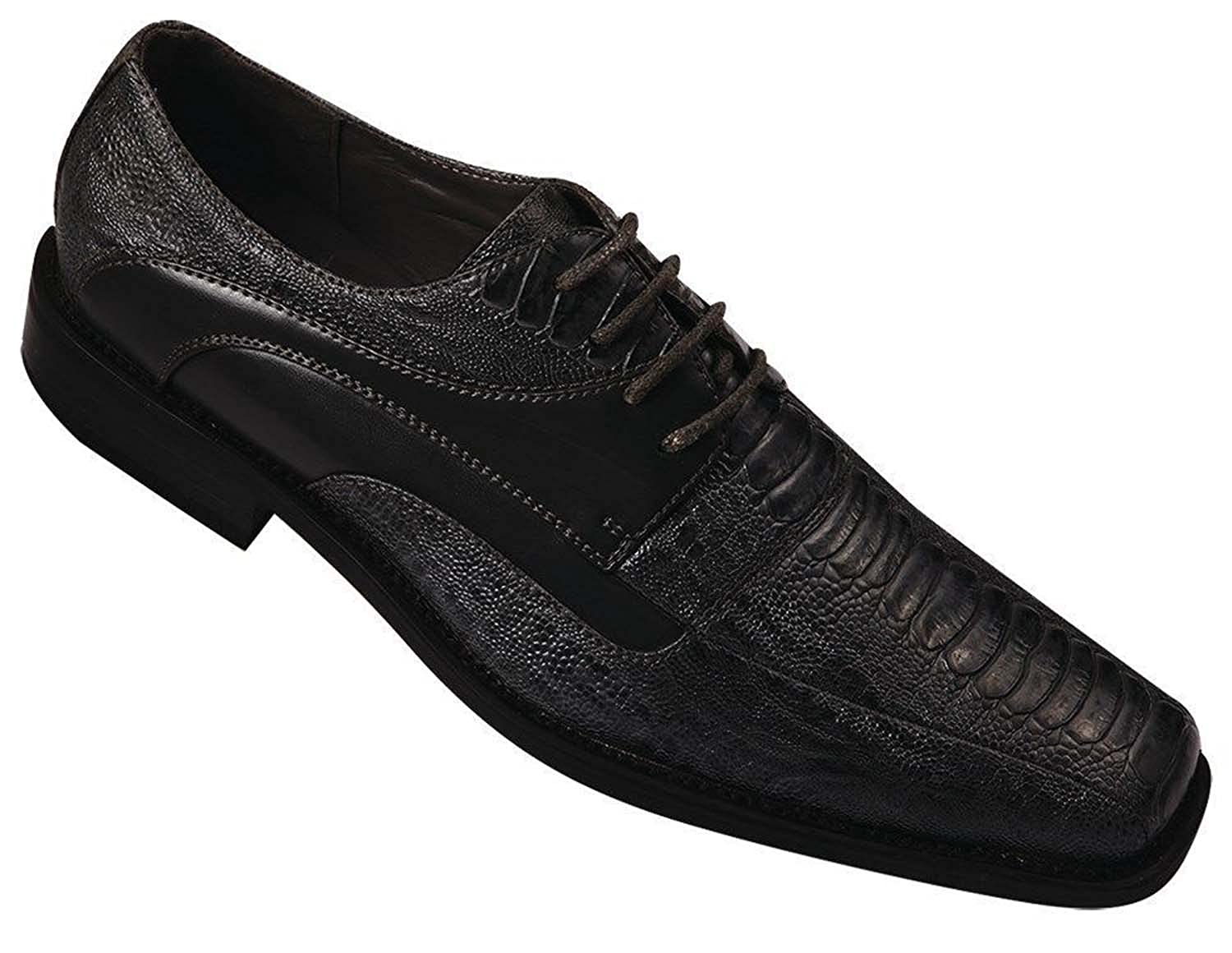 Milano Moda Mens Embossed Faux Leather Dress Shoe 5748
