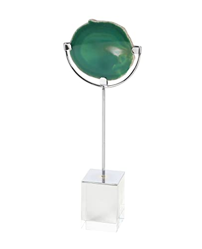 Deco 79 35774 Textured Green Agate Sculpture with Glass Base, 13 x 5 , Silver