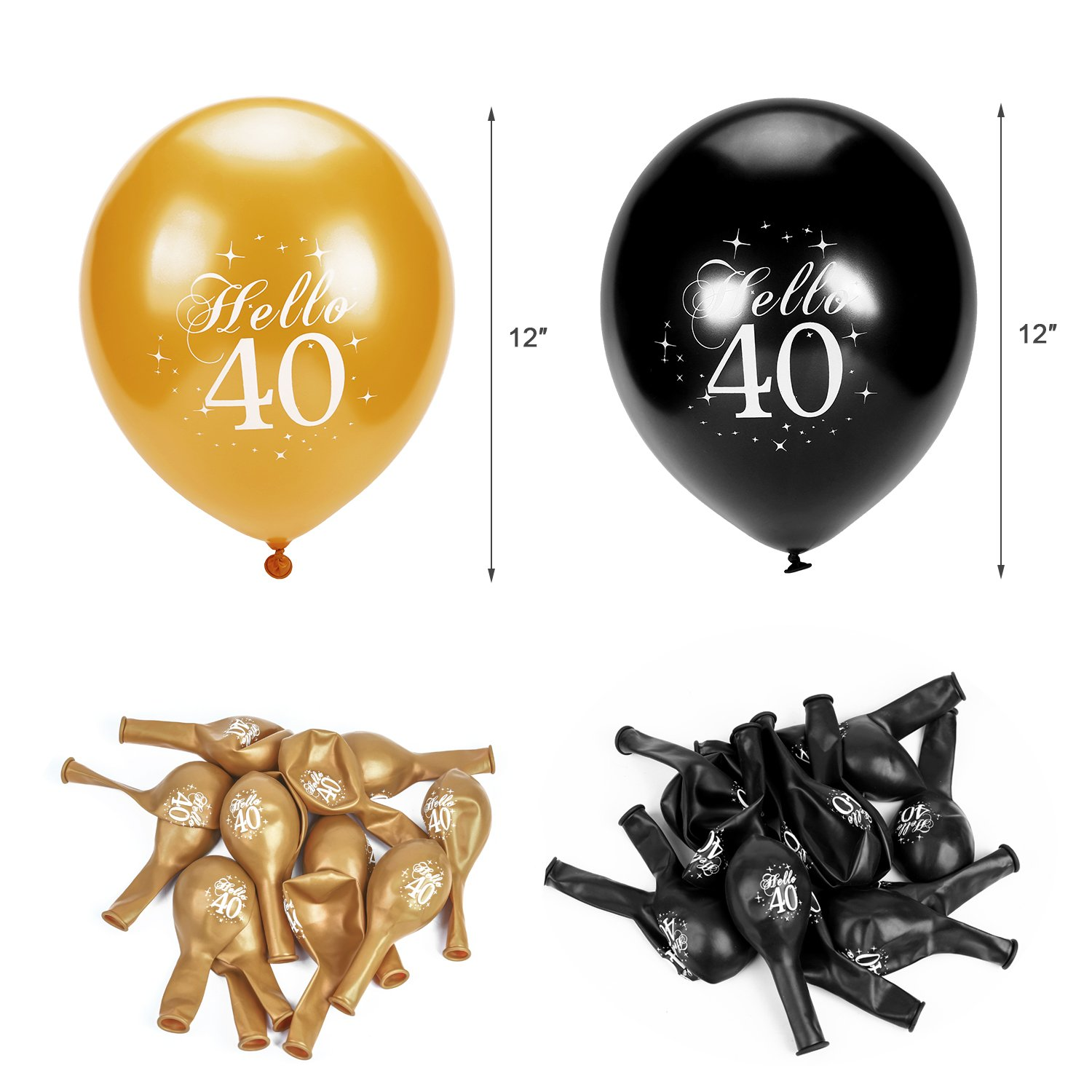 Great 40th Birthday Decorations KitThis Set Of Party Includes 1pc Black And Gold Cheers To 40 Years Banners78x62inch