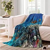Oncegod Flannel Blanket Fish Tropical Turtle Water Throw Blanket Adult Blanket
