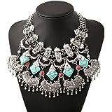 MJARTORIA Vintage Bohemian Ethnic Gypsy Rhinestone Bib Chunky Tassel Collar Festival Statement Necklace