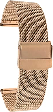 Bandini Stainless Steel Mesh Watch Band, Fine, Thin, Metal Mesh Watch Strap, Adjustable Length - Silver, Gold, Black and Rose
