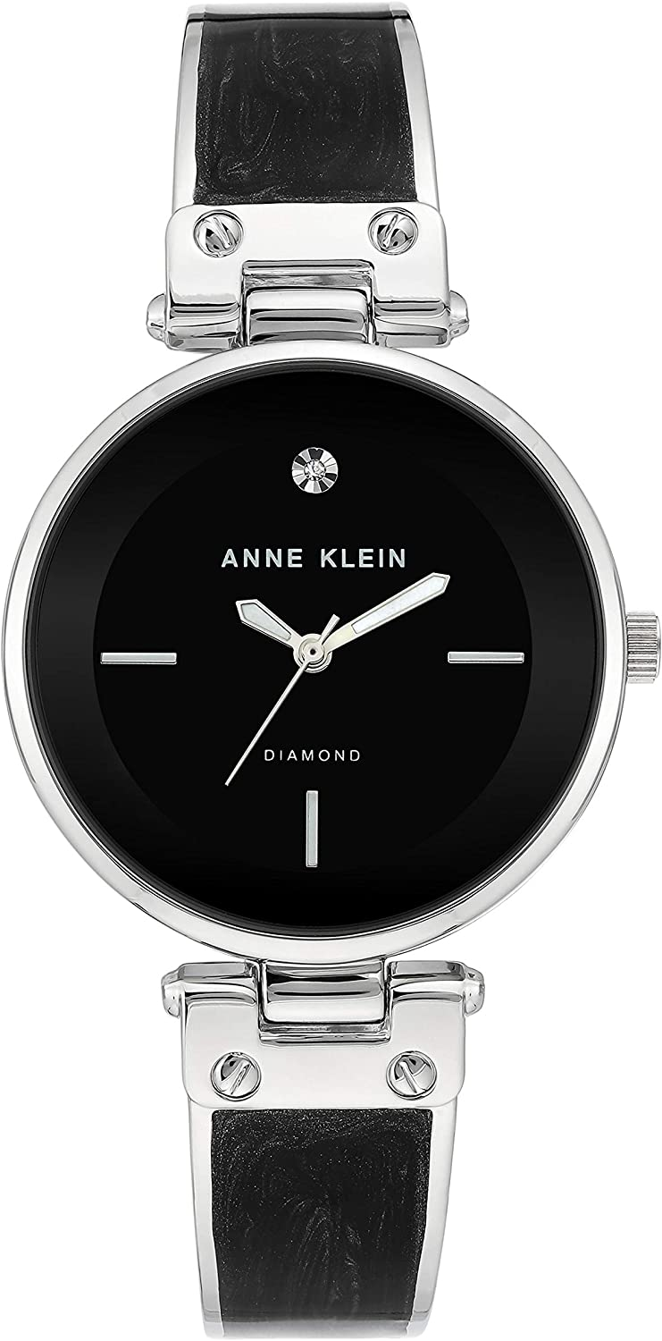 Anne Klein Women's Diamond-Accented Dial Bangle Watch