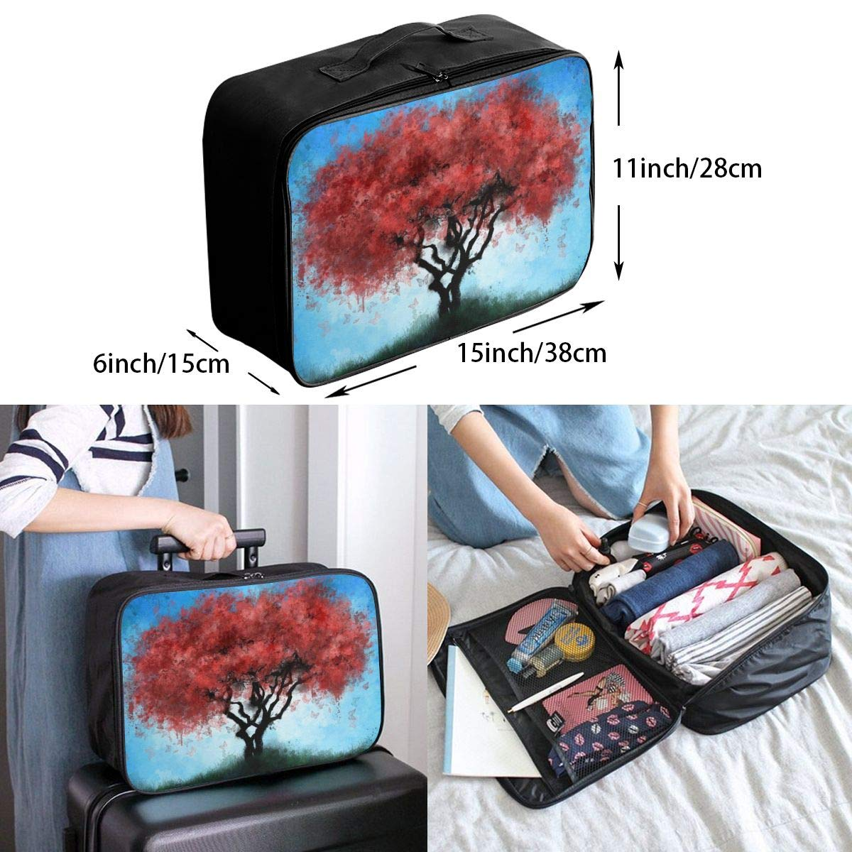 Butterfly Tree Travel Duffel Bag Waterproof Fashion Unisex Lightweight Large Capacity Portable Luggage Bag for Women Men