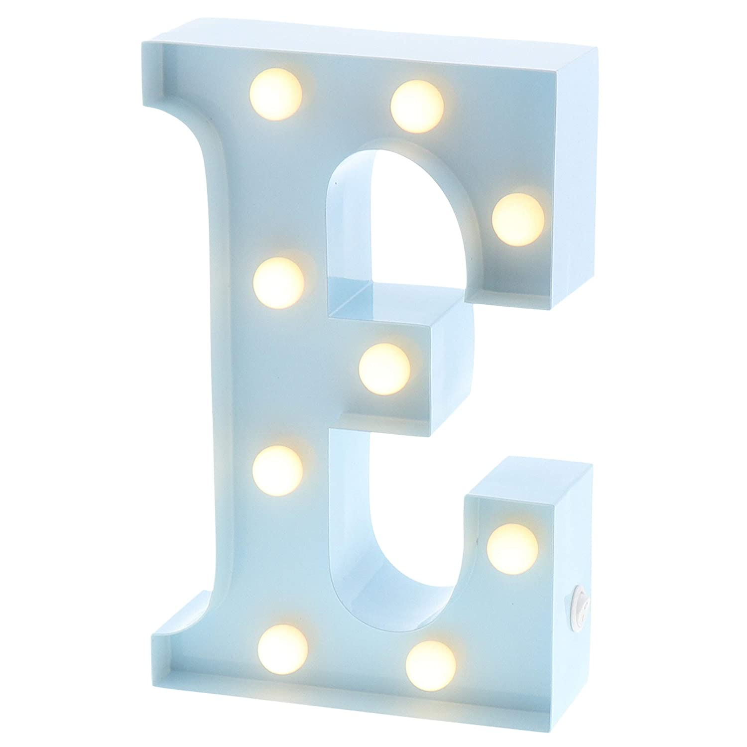 """Barnyard Designs Metal Marquee Letter E Light Up Wall Initial Nursery Letter, Home and Event Decoration 9"""" (Baby Blue)"""