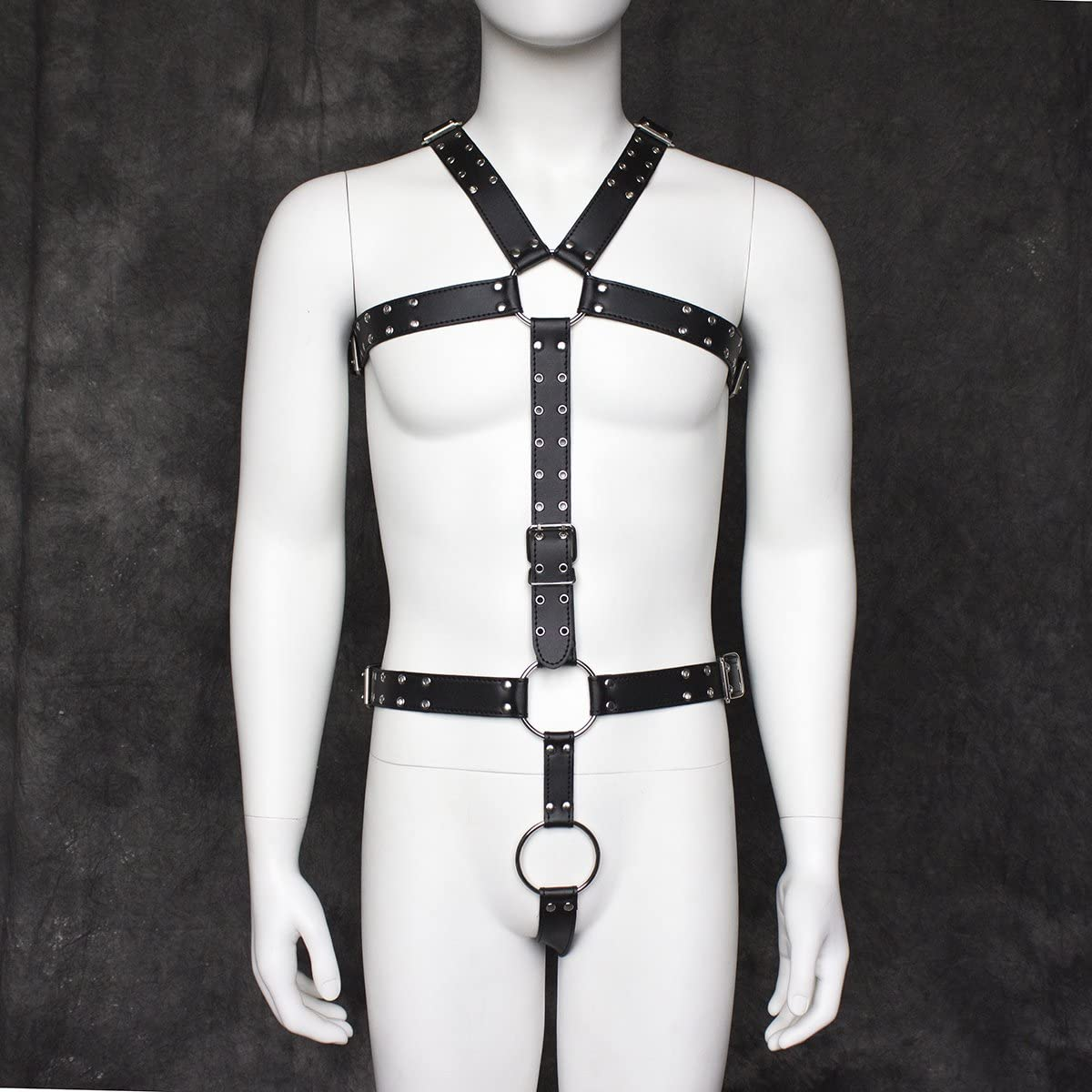 Mens Leather Band Belt Chest Waist Full Body Harness Straps Clubwear 12158