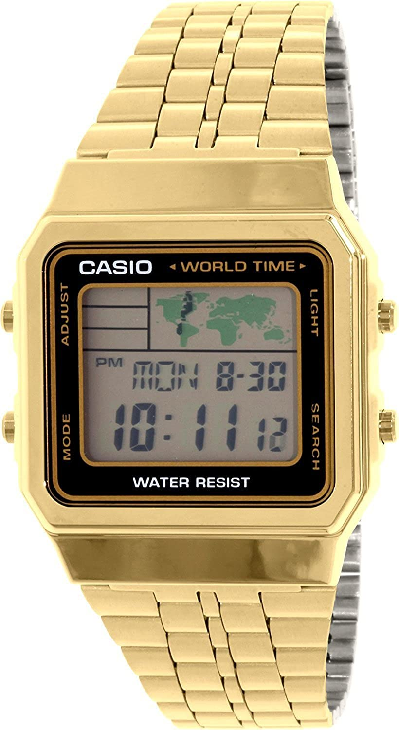 Amazon.com: Mens Gold-Tone Casio World Time Stainless Steel Watch A500WGA-1: Watches