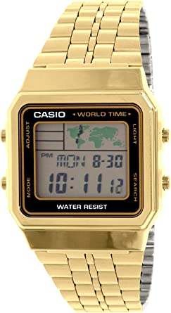 Mens Gold-Tone Casio World Time Stainless Steel Watch A500WGA-1