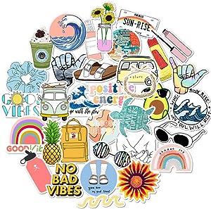 35 PCS VSCO Vinyl Cute Waterproof Stickers for Hydro Flask, Water Bottle, Laptop, MacBook, PC, Smartphone, Skateboard, Luggage, Car, Guitar, Aesthetic Stickers Suitable for Kids, Girls, Teens, Women