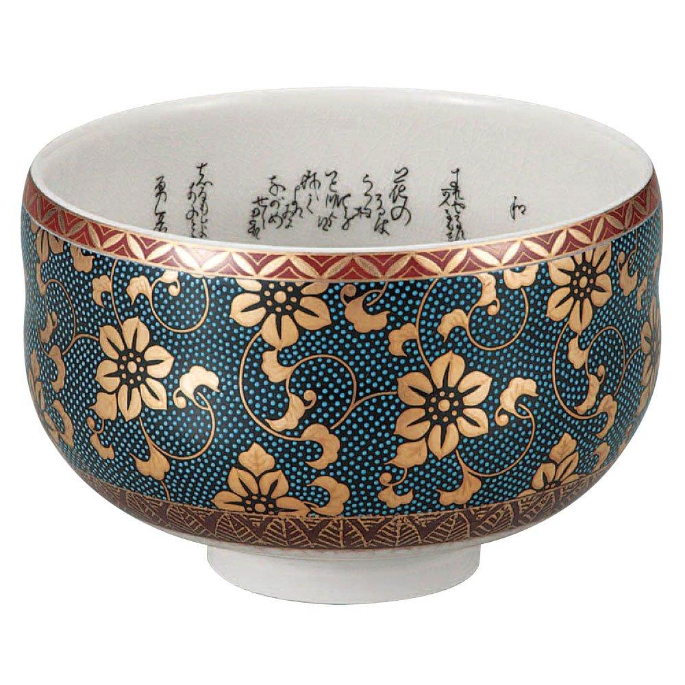 Japanese Matcha Bowl Gold Clematis Kutani Yaki(ware) by Kutani