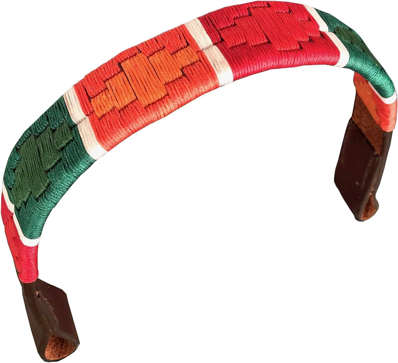 CARLOS DIAZ Diseñador Cuero Genuino Encerado Bordado Polo Caballo Herradura Brida (Grande (Caballo) 16 Pulgadas)