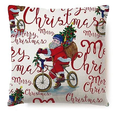 GARDENYEAR Hogar Cojín Navidad Bordado de algodón de Lino ...