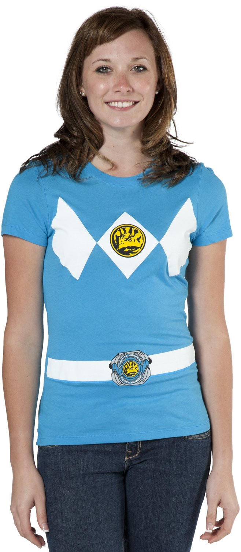 Mighty Fine Junior Blue Ranger Costume Shirt - X-Large