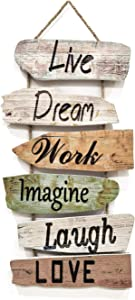 Hanging Wall Sign Rustic Wooden Wall Sign (Live, Dream, Work, Imagine, Laugh, Love) Wood Wall Decoration for Home Decor