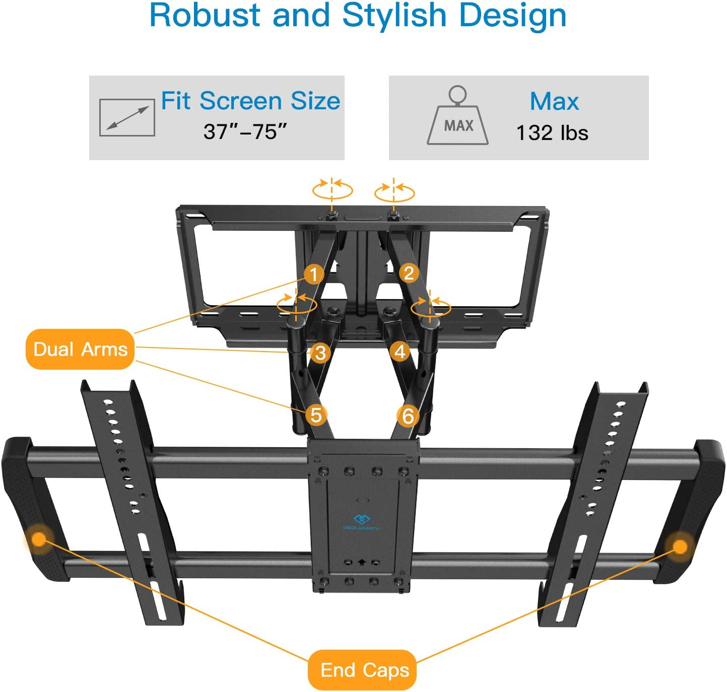 PERLESMITH Full Motion TV Wall Mount - Dual Arms Articulating TV Mount for 37-70 Inch LED, LCD, OLED TVs up to 132lbs VESA 600x400, Features Smooth Articulation, Swivel, Tilt - PSLFK3