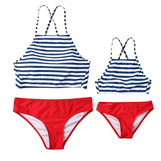 784cbced1aff1 Amazon.com: Mommy and Me Two Piece Swimsuit Mother Daughter High Neck  Striped Bikini Set Mom Girls Bikini Family Matching Swimwear: Clothing