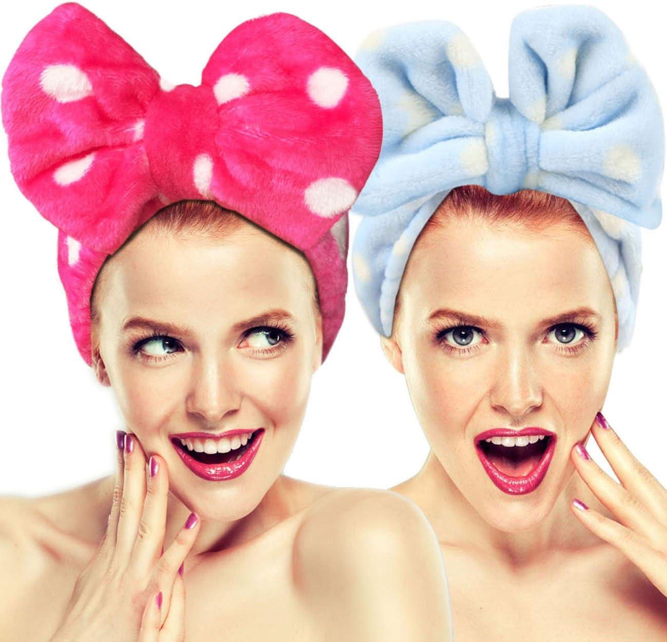 per lavare il viso Set di 2 fasce elastiche per capelli con fiocco doccia terme massaggi e sport. Hairizone trucco