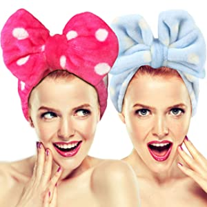 2 Pack Hairizone Makeup Headbands for Washing Face Shower Spa Mask, Soft and Cute Big Bow Hair Bands for Women and Girls (Light Blue/Roseo)