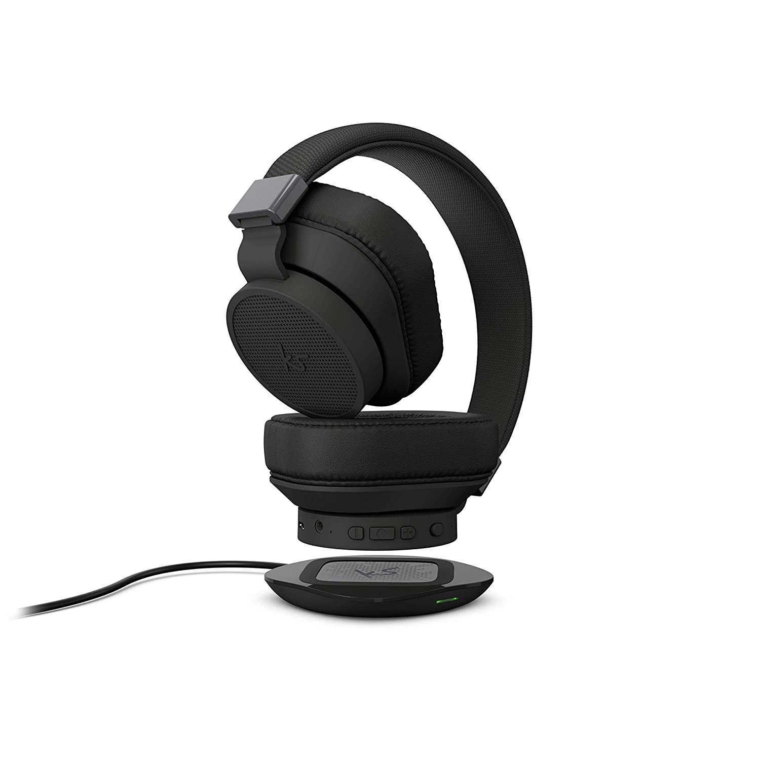 KitSound District Wireless Bluetooth Over Ear Active Noise Cancelling Headphones with Wireless Qi Charging and Qi Charger Included - Black