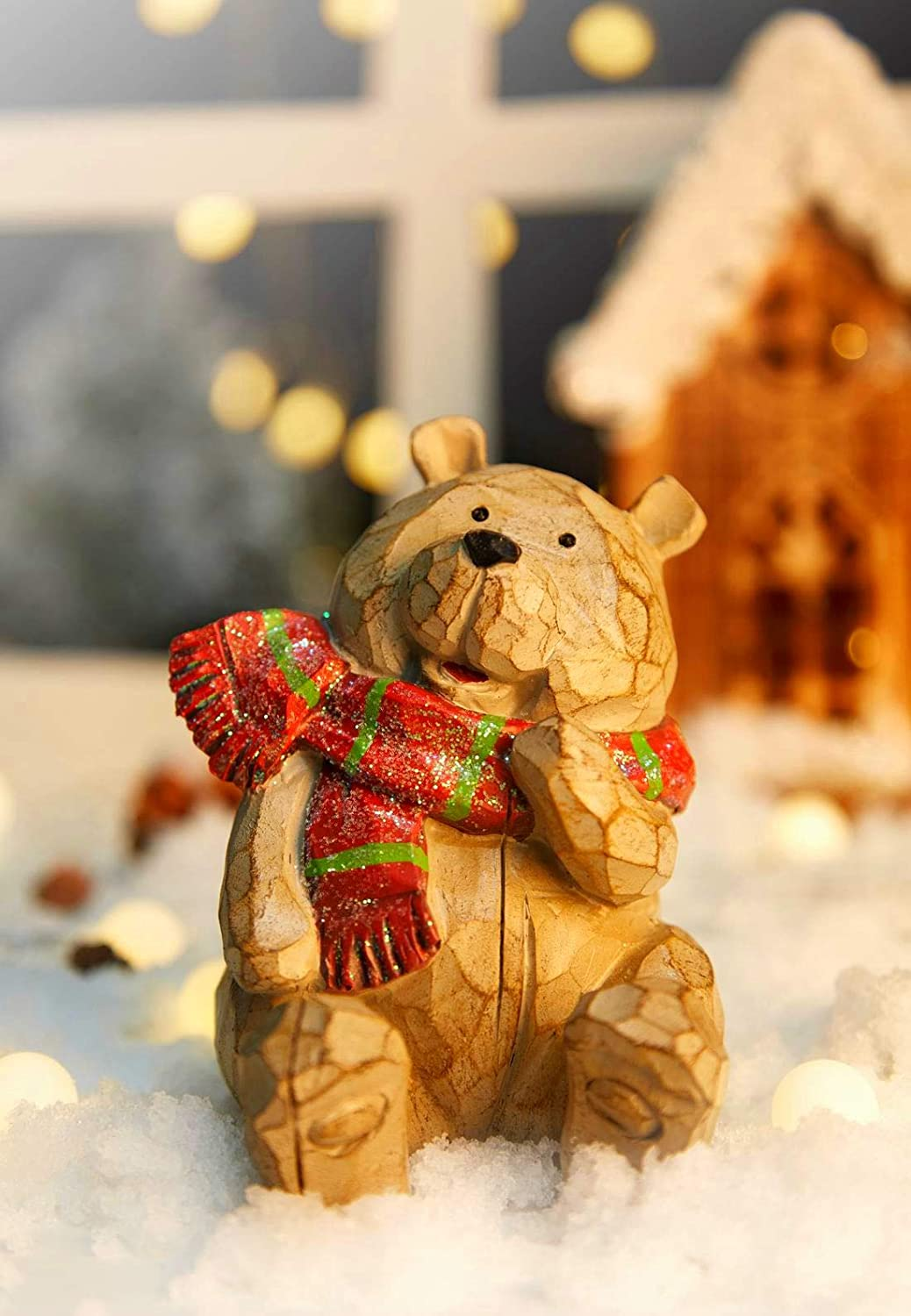 Floryden Wooden Carved Bear Christmas Decorations for Home,Resin Bear Figurine Decor Perfect for Christmas Table Decor, Shelf Decorations, Unique Lovely Bear Christmas Decorations