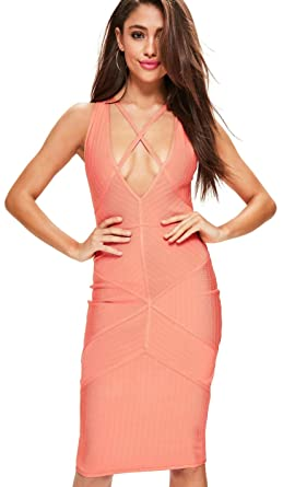 Missguided Coral Pink Strappy Harness Bandage Midi Dress 4