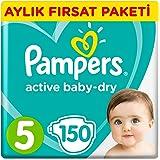 Prima Bebek Bezi Aktif Bebek 5 Beden Junior Aylık Fırsat Paketi Paket, 150 Adet