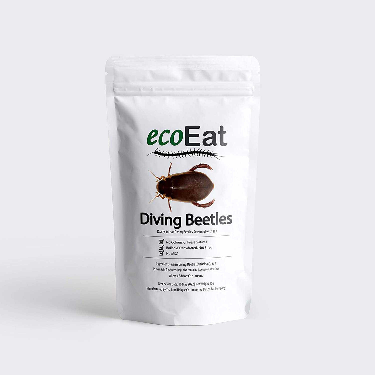 ecoEat Edible Insects Dehydrated Diving Beetles - 15g Package – Edible Bugs for Humans - Snack Food Gifts