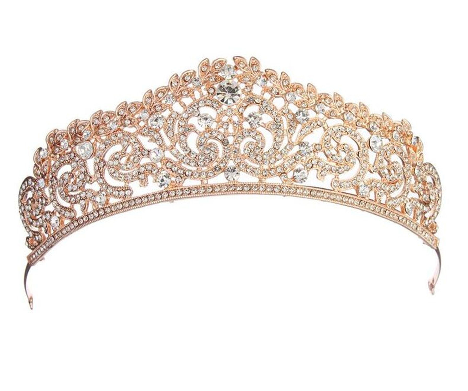 Wiipu Luxury Rose Gold Hair Rhinestone Crystal Wedding Bridal Tiara Crown(A1060)