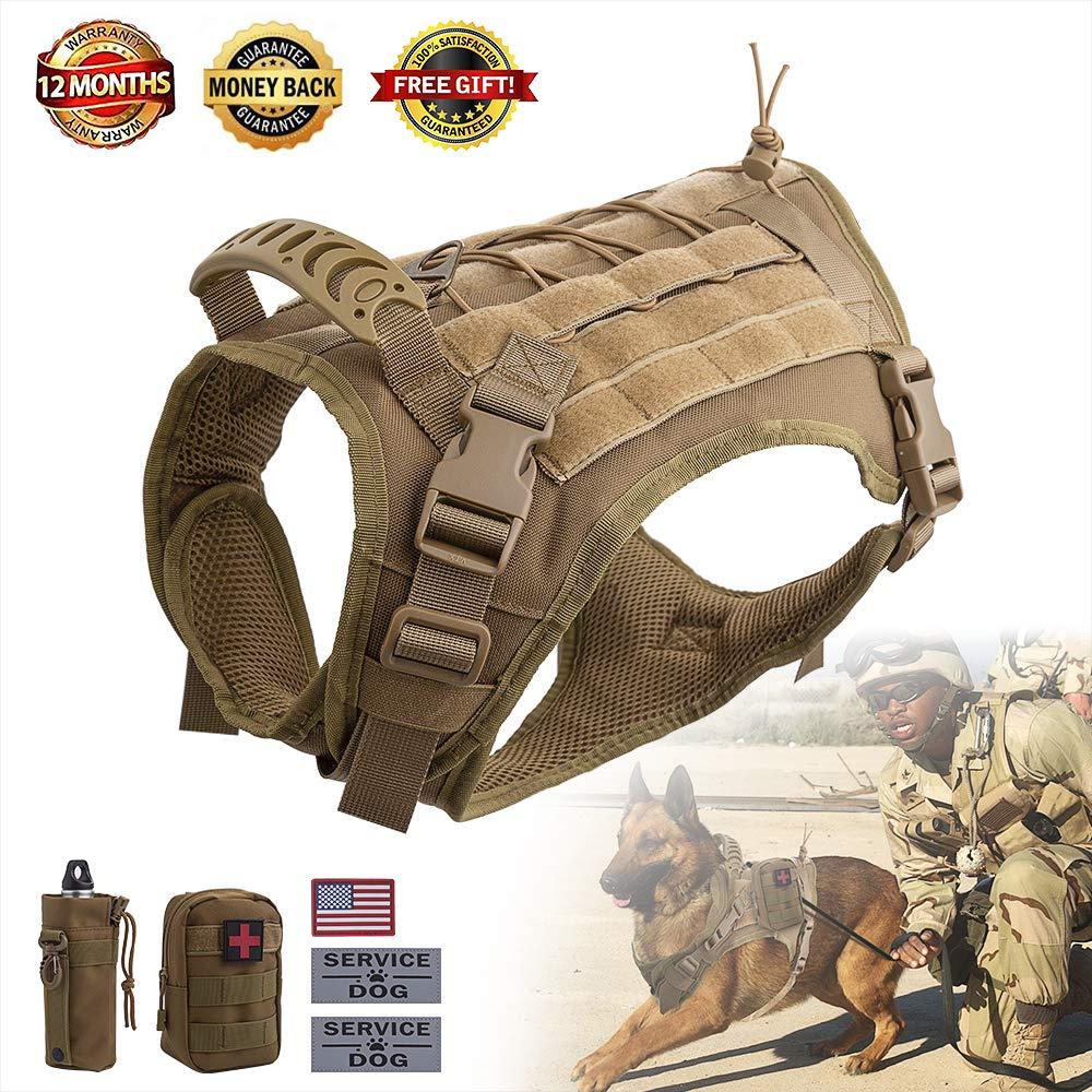 Hanshengday Tactical Dog Vest-Training Molle Harness-Tactical Dog Backpack-Pet Tactical -Vest Detachable Pouches-Relective Patches...