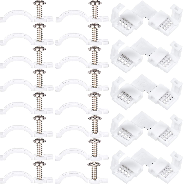 100 Piezas de Soporte de Montaje Kit de Clips de Fijar de Tira de Luz, con 5 Piezas de Conector de Tira de Luz LED, Conector de 4 Pines en Forma de L, 10 Tornillos Incluidos Jovitec
