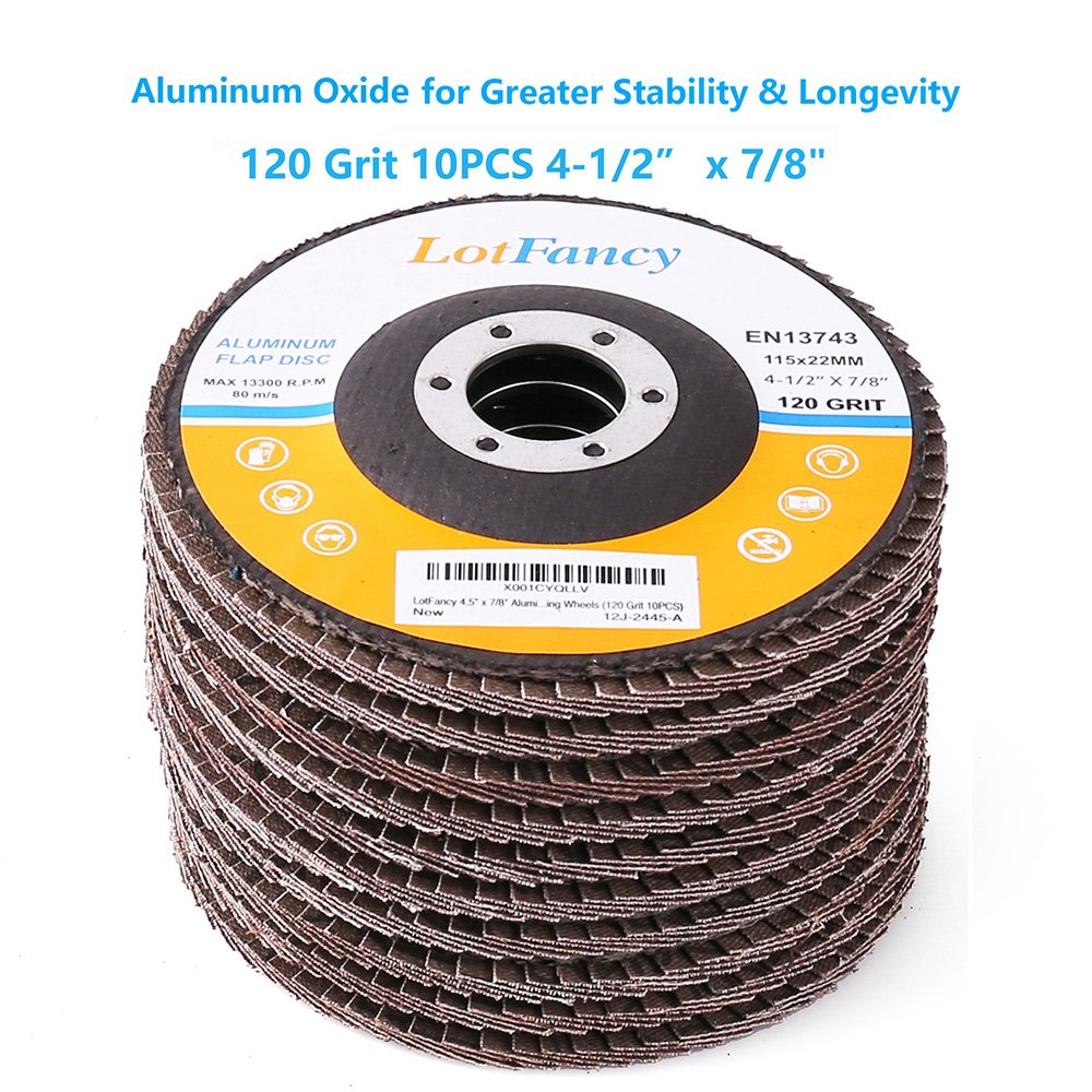 """120 Grit Flap Discs 4.5/"""" x 7//8/"""" Sanding Grinding Wheels 10PCS Aluminum Oxide Abrasive by LotFancy Type #27"""