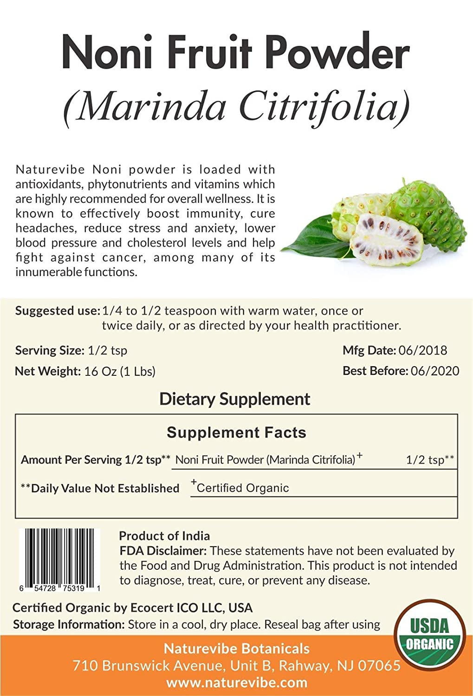 Naturevibe Botanicals USDA - Polvo orgánico para fruta noni ...
