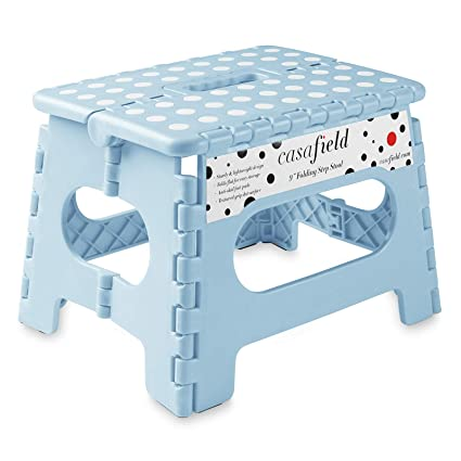 Brilliant Casafield 9 Folding Step Stool With Handle Blue Portable Collapsible Small Plastic Foot Stool For Kids And Adults Use In The Kitchen Bathroom Ncnpc Chair Design For Home Ncnpcorg