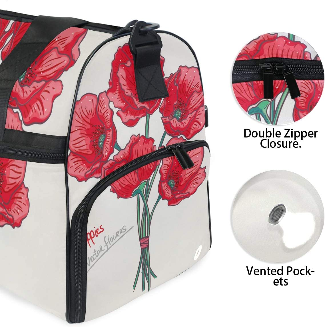 WIHVE Travel Duffel Bag Red Poppy Bouquet Floral Gym Bag With Shoes Compartment