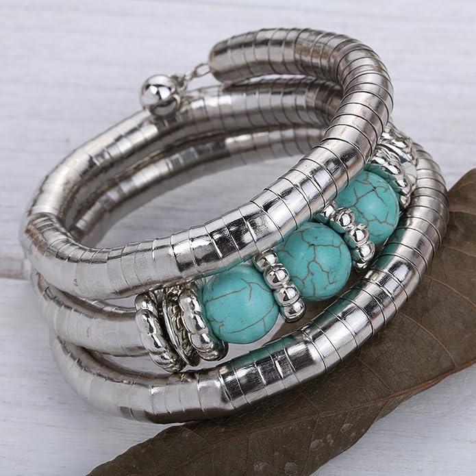 Yazilind Vintage Trendy Tibetan Silver Alloy Round Rimous Turquoise Adjustable Bracelet Bangle relxhCawu