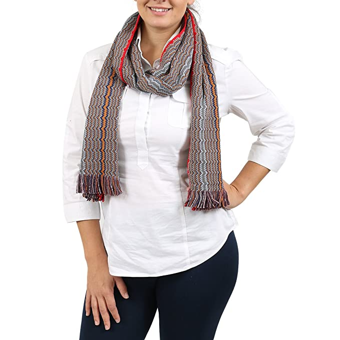 907448c47 Image Unavailable. Image not available for. Color: Missoni Orange/Gray Zig  Zag Scarf for Womens